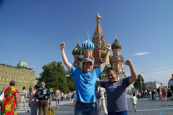 Zach and Vlad in front of Saint Basil's Cathedral