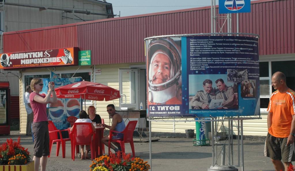 Billboard in native village of the cosmonaut German Titov